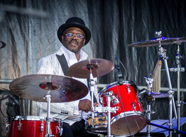 Drummer Jordan from Ghana performs at the Victory Music Night with the 'Opera Pop' duo Dust of Soul