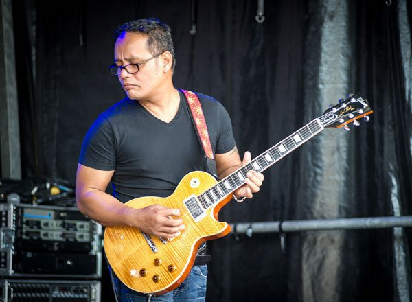 Filipino Guitarist Mike Capa (Miguelito Capa) performs at the Victory Music Night with the 'Opera Pop' duo Dust of Soul